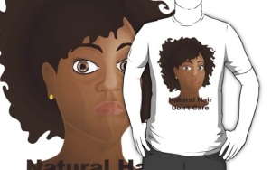 Natural hair don't care white tee